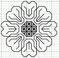 Flower blackwork motif and fill