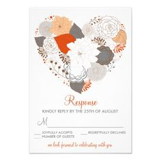 Orange Gray Heart Flowers Wedding Reception Card X Invitation Card Whimsical Wedding Invitations, Heart Wedding Invitations, Custom Invitations, Invitation Suite, Invites, Invitation Templates, Wedding Reception Cards, Wedding Rsvp, Wedding Ideas