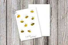 Happy birthday card, happy bee-day card, bee card, handmade card, hand-painted card, watercolour