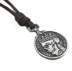 Brown Real Leather and Alloy Pendant Adiustable Necklace Mens Necklace Unisex Necklace Cool Necklac Pl231 necklace,http://www.amazon.com/dp/B008R9WFZO/ref=cm_sw_r_pi_dp_j.2wsb0A0GSAJQW6