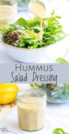 This Easy Hummus Salad Dressing Is A Healthy Way To Add A Creamy Element To Your Next Salad. There Is No Need For Mayonnaise Or Sour Cream, The Wonderful Creaminess Comes From Hummus, Making Hummus Dressing, Creamy Salad Dressing, Salad Dressing Recipes, Sweet And Sour Salad Dressing Recipe, Oil Free Salad Dressing, Mayonnaise, Avocado Cilantro Lime Dressing, Hummus Sauce, Sauce For Vegetables