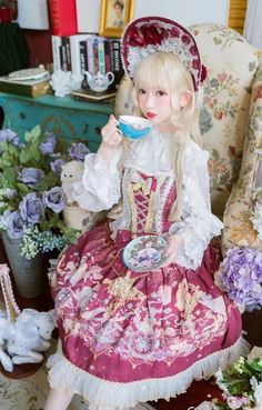 Arcadian Deer [Four Elements of Astrology - Fire Signs] Lolita Corset and Skirt (Shipping Date: In June)