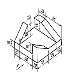 Orthographic drawing without section, title and scale or