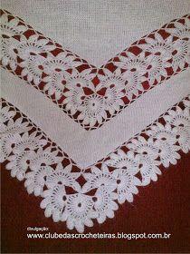 Vera E Suas Manualidades-Veraxangai: Xal - Diy Crafts Filet Crochet, T-shirt Au Crochet, Poncho Au Crochet, Beau Crochet, Crochet Motifs, Crochet Shirt, Crochet Borders, Crochet Stitches Patterns, Doily Patterns