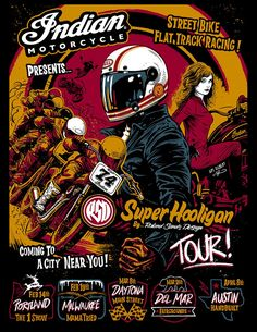 Roland Sands Design races Superhooligan Scout into venues across the U. Bike Poster, Motorcycle Posters, Retro Motorcycle, Bobber Motorcycle, Samurai Warrior Tattoo, Tour Posters, Event Posters, Roland Sands, Cafe Racer Helmet