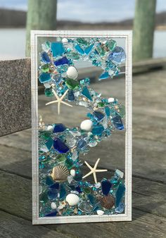 "Free shipping!!!! 21""x 11"" Mosaic Coastal Window, mixed media sea glass mosaic, Glass Art"