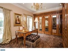 Luxurious his and hers custom built-in closets and armoires, Schnobeck Crystal lighting, and a gas fireplace in Louis XV style white Italian marble.  Garwood Rd, Moorestown, NJ