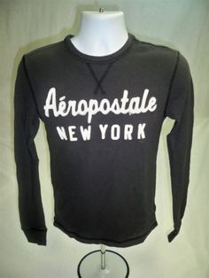 Aeropostale-Mens-Long-Sleeve-Casual-Shirt-Gray-size-XS-Aero-New-with-tags