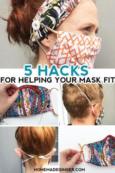 If your face mask is hurting your ears, is too large or won't fit properly over your nose, try one of these easy DIY hacks.  #homemadegingerblog #facemaskhacks #diyfacemask