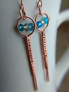 Handmade woven copper earrings with turquoise and white beads / unique earrings