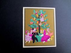 Unused Art Deco Pochoir Xmas Greeting Card from France Dancing Around The Tree | eBay