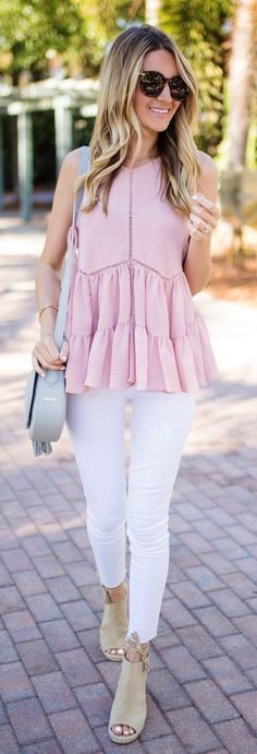 summer outfits Pink & White.