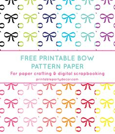 Free Printable Bow Digital Paper | Printable Party Decor #freeprintable
