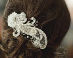 R660 Lace hairpiece blush pink or white by KathleenBarryJewelry