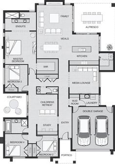 Home plan I would put the master in front, and the other three rooms in the back.