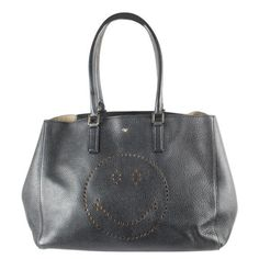 Pre-Owned Anya Hindmarch Black Leather Smiley Large Tote Anya Hindmarch Fashion, Selfridges London, Leather Bag, Black Leather, British Fashion Awards, Global Brands, Large Tote, British Style, Smiley