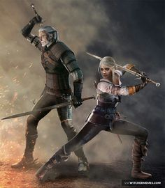 "Geralt of Rivia and Ciri ""the Lion Cub of Cintra"""