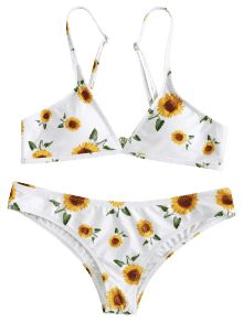 417b6cca45d [POPULAR] 2019 Sunflower Print Plunge Bikini Set In WHITE L | ZAFUL  Sunflower Pattern