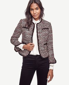 "In sequin-dusted tweed, this impeccably tailored piece is a refined way to dazzle. Open front. 3/4 sleeves with slits at cuffs. Chest welt pockets. Patch pockets. Fringe at neckline, placket, pockets, cuffs and hem. Lined. 19 1/2"" long."