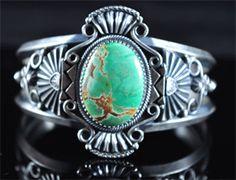 Handmade cuff bracelet, with natural gem grade Australian Variscite, by Navajo artist Derrick Gordon.