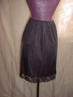 Vintage Black Half Slip w Lace by Lorraine Below Knee Length size Small F255 #Lorraine Seller florasgarden on ebay