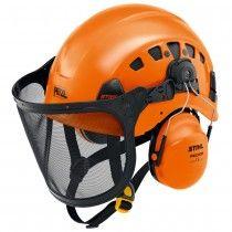 Genuine Stihl vent plus arborist helmet set comes with ear protectors and a mesh face visor