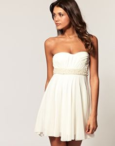 Perfect rehearsel dinner dress, ASOS Mesh Strapless Dress with Pearl Waist Trim, $81.81