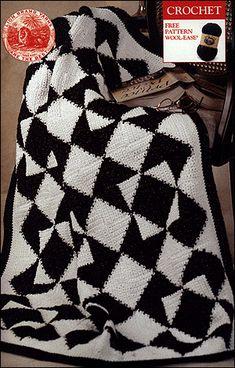 Diamond Crochet Throw - free Lionbrand pattern.