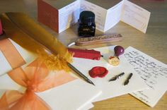 Calligraphy Feather Quill and Wax Seal by ArcaneObjects on Etsy