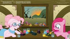 Pinkamina painting rocks with Granny Pie. this look's cozy for some reason.