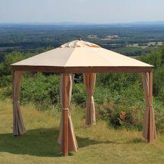 Hier ist ein einfacher Holz und Leinwand portable Pavillon. Dies ist ein großer Pavillon für eine kleine Gruppe oder am Pool zu platzieren. Sie können dieser Pavillon fast überall platzieren und haben es sowohl modisch und bequem sein.