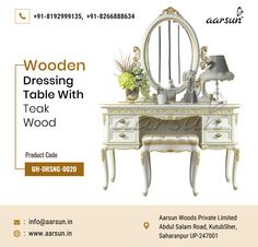 Touch of beauty in your bedroom with this wooden dressing table in teak wood. #bedroomdecor #design #bedroom #homedecor