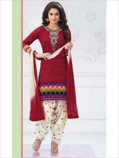 Red Party Wear Art Silk Suit