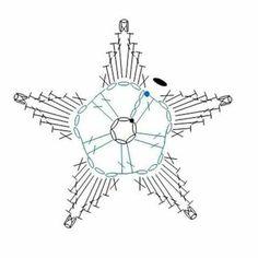 Une Broche-Fleur au Crochet by Annette Petavy - diagram flower 1 Crochet Snowflake Pattern, Crochet Stars, Crochet Motifs, Crochet Snowflakes, Crochet Diagram, Crochet Doilies, Crochet Flowers, Crochet Stitches, Crochet Patterns