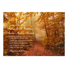 Shop Autumn Romantic Forest Path Wedding Invitation created by pinkpinetree. Personalize it with photos & text or purchase as is! Affordable Wedding Invitations, Country Wedding Invitations, Beautiful Wedding Invitations, Elegant Wedding Invitations, Forest Path, Forest Theme, Autumn Forest, Wedding Matches, Paths