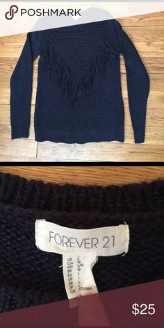 Forever21 navy blue tassel fringe sweater Super comfy worn once sweater with fringe front detail! Forever 21 Sweaters Crew & Scoop Necks