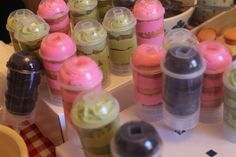 Push ups cake pops , green tea latte, cotton candy and hot chocolate frapp