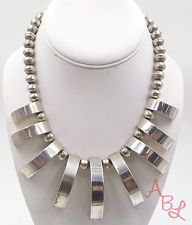 """Taxco Sterling Silver Vintage 925 Unique HEAVY Bead Necklace 14.5"""" 150.9g-492472"""