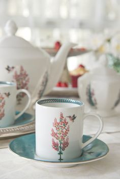 """ZABARWAN TEA SERVICE Our favourite moto is """"More tea, more stories. Our 'Zabarwan' tea service is inspired by the flora and fauna of the mountains that surround Srinagar in  Ceramic Painting, Ceramic Art, Coffee Time, Tea Time, Good Earth India, Kitchenware, Tableware, India Style, Tea Service"""
