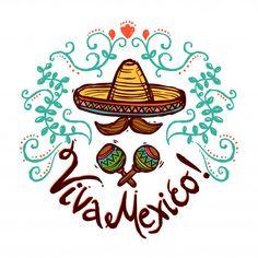 Vector Mexicanos Mexico idea with sketch sombrero maracas and floral decoration vector illustrat. Vector Mexicanos Obtain Mexican American, Mexican Art, Mexico Wallpaper, Mexico Party, Hispanic Art, Mexico Style, Mexico Culture, Mexico Travel, Vector Art