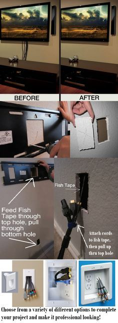 DIY HIDE TV CORDS - Remove tv from mounting bracket & set aside. Locate area for cords (make sure they are easily accessible, but hidden by tv). Use drywall saw to cut hole. Cut another hole directly below 1st hole toward bottom of wall. Use fish tape or stiff wire to bring cords up thru wall. There are now a variety of products available to give a prof look-buy them 1st to ensure proper hole sizes! Hook up & re-mount tv!