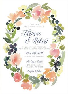 Watercolor Inspired Garland Wreath #Wedding Invitation http://www.styleyoursoiree.com/#!wedding-invitations/c1sa8