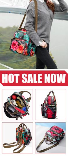 HOT SALE  Flower Pattern Backpack Crossbody Bag  outdoor e93785d5ae512