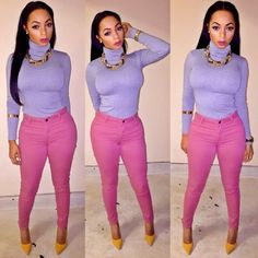 Winter Fashion Purple Turtle Neck Long Sleeve Top Pink Jeans Yellow Pointy High Heels Style Trend Gold Chain Arm Body Jewellery Watch Iamlonni