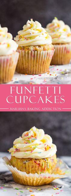 Funfetti Cupcakes | marshasbakingaddiction.com @marshasbakeblog