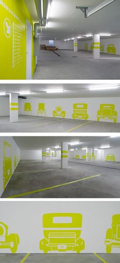A long shot, but maybe something cool to add color to parking garage, or used in similar application. Das museale Parkhaus - The museum parking garage by Rawcut Design Studio, via Behance Environmental Graphic Design, Environmental Graphics, Parking Design, Signage Design, Car Park Design, Schrift Design, Wayfinding Signs, Office Branding, Identity Branding