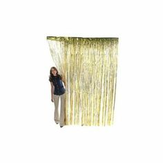 Amazon.com : GOLD METALLIC FRINGE CURTAIN : Childrens Party Streamers : Toys & Games
