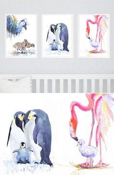 Bird Nursery Art Set of 3 prints Watercolor Painting by ValrArt