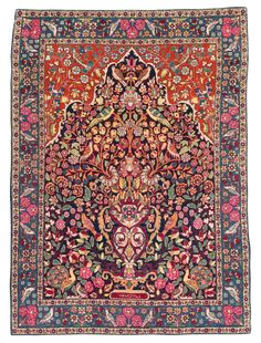 """Persian Teheran rug, with inscription """"Made on the order of Karde Khan"""", early 20th c"""