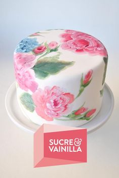 Hand Painted Cake. Vintage Flowers